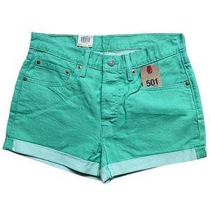 Levi's 501 Cuff Shorts Mid Rise Green Waist 30 NWT